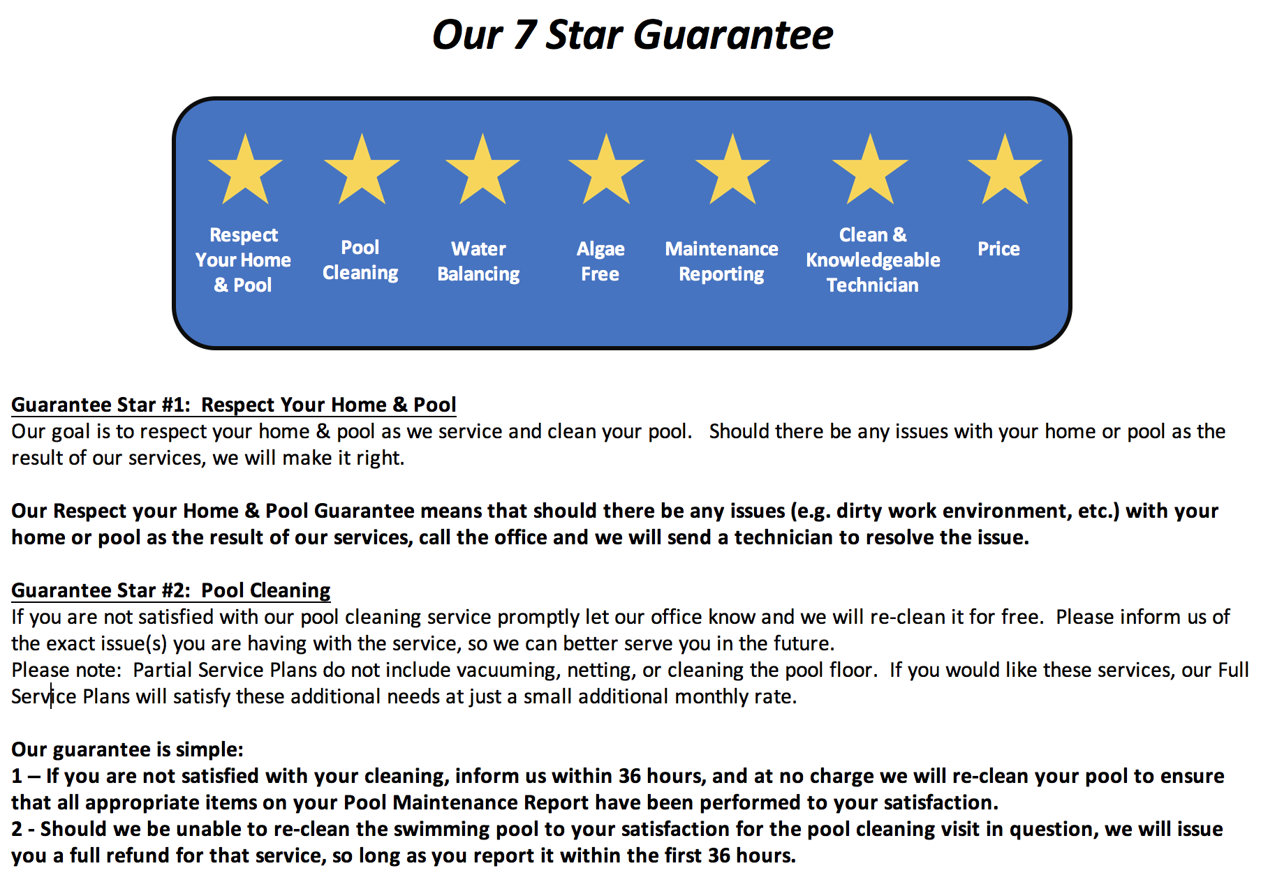 7 Star Jollyville Pool Service Guarantee